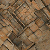 3d fragmented tiled mosaic labyrinth interior in rusty orange — Stock Photo