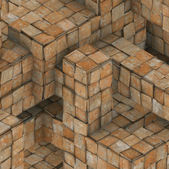 3d abstract grunge mosaic tile cube backdrop in orange rust — Stock Photo