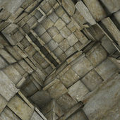 3d fragmented tiled mosaic labyrinth interior in gray beige — Stock Photo