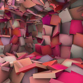 Pink 3d abstract shape interior fragmented — Stock Photo