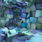Blue 3d abstract shape interior fragmented — Stock Photo