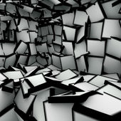 3d abstract shape interior fragmented in black and white — Stock Photo