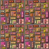 Naadloze 3d-gestileerde futuristische stad in meerdere heldere kleur — Stockfoto