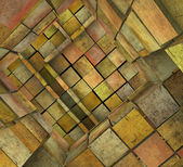 3d fragmented tiled mosaic labyrinth in orange pink — Stock Photo