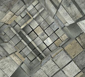3d fragmented tiled mosaic labyrinth in multiple gray — Stock Photo