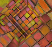 3d fragmented tiled graffiti labyrinth in multiple spray color  — Stock Photo