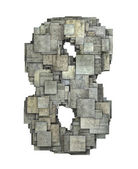 3d gray tile eight 8 number fragmented on white  — Stock Photo