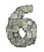 3d gray tile six 6 number fragmented on white  — Stock Photo