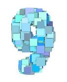 3d multiple blue tiled number nine 9 fragmented on white  — Stock Photo