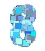 3d multiple blue tiled number eight 8 fragmented on white — Stock Photo