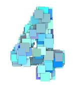 3d multiple blue tiled number four 4 fragmented on white  — Stock Photo