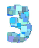 3d multiple blue tiled number three 3 fragmented on white — Stock Photo