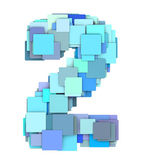 3d multiple blue tiled number two 2 fragmented on white — Stock Photo