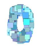 3d multiple blue tiled number zero 0 fragmented on white  — Stock Photo