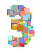 3d number three3 fragmented tiled on white in multiple color — Stock Photo