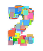 3d number two 2 fragmented tiled on white in multiple color — Stock Photo