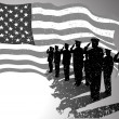 USA flag with soldiers saluting. — Stock Vector