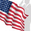 Solider Standing In Front Of Us Flag Saluting — Vector de stock