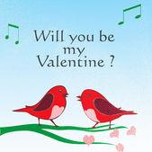 Valentine love birds — Stock Vector