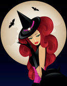 Witch on Halloween — Stock Vector