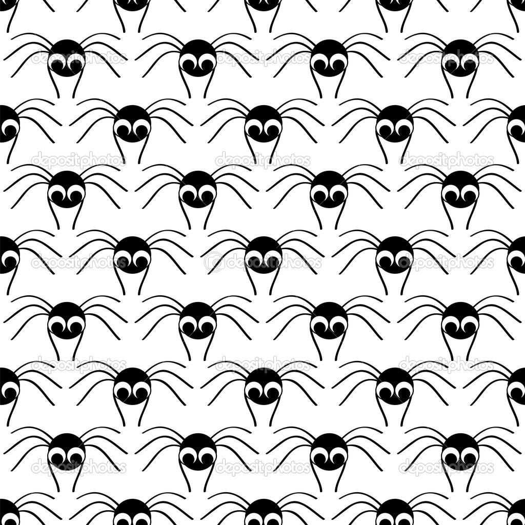 Halloween  seamless pattern   with  black small spider  Stock Vector #13690217