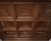 Classical wooden caisson ceiling — Stock Photo