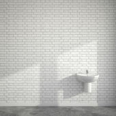 WC room with wash basin at empty wall of bricks — Stock Photo