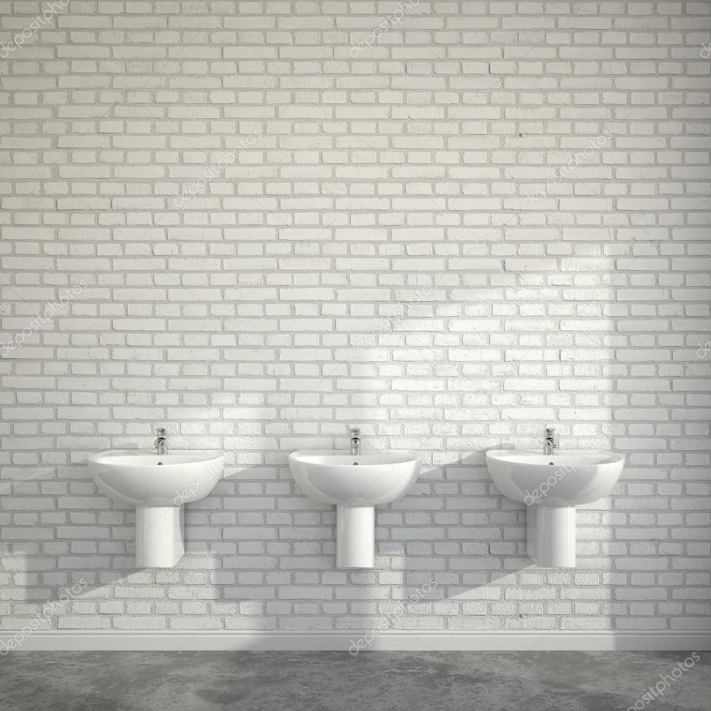 Wc kamer met drie wastafels op lege muur van bakstenen stockfoto traffic 42510107 - Witte muur kamer ...