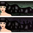 Two halloween banners with sexy witch, vector illustration - Vettoriali Stock