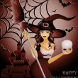 Happy halloween card, sexy witch and skull - Vettoriali Stock