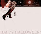 Happy halloween magic card, vector illustration — Stock Vector
