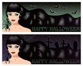Two halloween banners with sexy witch, vector illustration — Stock Vector