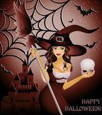Happy halloween-card, sexy hexe und schädel — Stockvektor