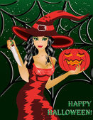 Happy halloween. Beautiful witch with a knife and a pumpkin — Stock Vector