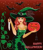 Tarjeta de halloween feliz. bruja pelirroja con un cuchillo y una calabaza. ilustración vectorial — Vector de stock