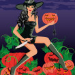 Sexy witch with a knife and a pumpkin,vector illustration — Stock Vector