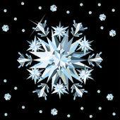 Diamond sneeuwvlok kaart, vectorillustratie — Stockvector