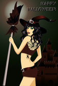 Happy halloween. Sexy young witch with a broom — Stock Vector