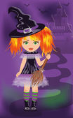 Halloween card with young witch. vector illustration — Stock Vector