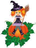 Girl witch with a broom. vector illustration — Stock Vector