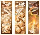 Sada vánoční zimní bannery, vektorové ilustrace — Stock vektor