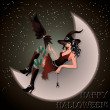 Sexual witch sits on the moon, vector illustration - Vettoriali Stock