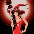 Happy Halloween. Sexy witch with broom - Imagen vectorial