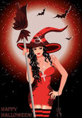 Happy Halloween. Sexy witch with broom — Stock Vector