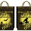 Set two halloween shopping bags. vector illustration — Stock Vector