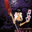 Halloween poker card with sexy witch, vector illustration — Stock Vector #12857750