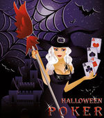 Halloween poker card with sexy witch, vector illustration — Stock Vector