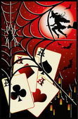 Halloween poker card, vector illustration — Stock Vector