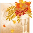 Stock Vector: Autumn wedding card, vector illustration