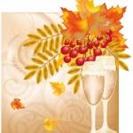 Autumn wedding card, vector illustration — Stock Vector